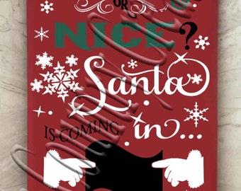 Naughty or Nice Christmas Countdown svg png jpg