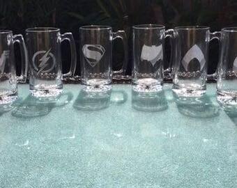 Super Hero Beer Mugs, Batman Beer Mugs, Avengers Beer Mugs, Gift for him, Gift for Superhero Lover, Gift for her, Etched Beer Mug