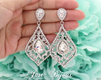 Wedding Earrings Rhinestones Chandelier Earrings Bridal Earrings Bridesmaid Gift Bridal Jewelry Wedding Accessory Teardrop Earrings