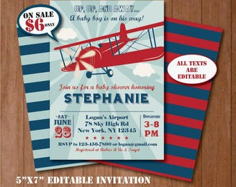 Self Editing Vintage Airplane Baby Shower Invitation Airplane Baby Shower  Invite Printable Airplane