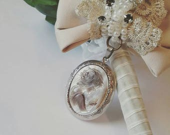 Bridal Remembrance bouquet locket Bow-Walk me down the aisle-Photo memory pendant-Keepsake Locket bow-Ghostly girl locket-bouquet charm