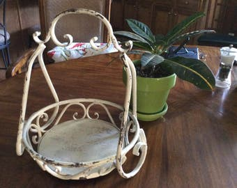 Wrought iron and wooden Tray