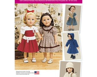 "Sewing Pattern for 18"" Doll Vintage Wardrobe, Simplicity Pattern 1245, Vintage Inspired Designs, KeepersDollyDuds, Pinafore, Dress, Coat Hat"