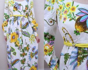 Vtg 60s Union Label Dress Woodstock Dress Wildflower Dress Vibrant Dress Bishop Sleeve Dress Hippie Dress Gypsy Dress Bohemian Dress