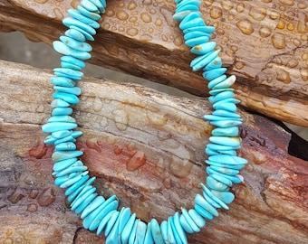 Genuine Blue Turquoise Gemstone Bracelet, Blue Turquoise Chip Bracelet, Genuine Turquoise Handmade Bracelet with Sterling Silver