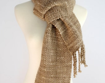 brown hand woven scarf, winter, chunky scarf, mother's day gift , handwoven scarf, wool scarf, hand spun wool scarf, SpunWool