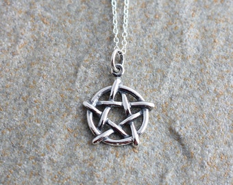 Sterling Silver Pentagram Necklace, Silver Pentagram Pendant, Silver Pagan Necklace, Silver Pagan Pendant, Gothic Pentagram, Pagan Jewelry