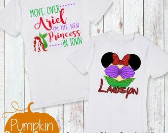Disney Shirt/First Trip to Disney/Going To Disneyworld/Ariel/Mermaid/Girl Disney Shirt/New Princess in Town/Ariel Character Head