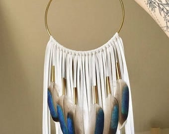 "Modern White Leather Dream Catcher, 6"" x 22"". Handmade. Wall hanging."
