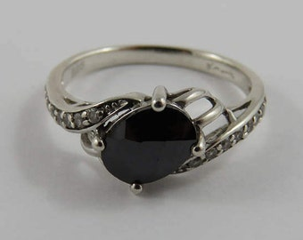 Sterling Silver D'Manis Cubic Zirconia and Hematite Ring- SIZE 7