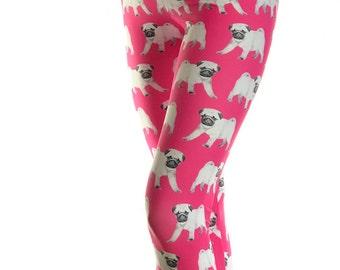 Pug Leggings - Pug puppy print Leggings - Pug Costume - Print Leggings - Gift - Puppy leggings - Dog Leggings
