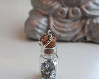 "Charm pendant mini flask wish bottle - wish upon a star - ""make a wish"" lucky wish jar - magical fairy jewel - to hang anywhere - glitter"