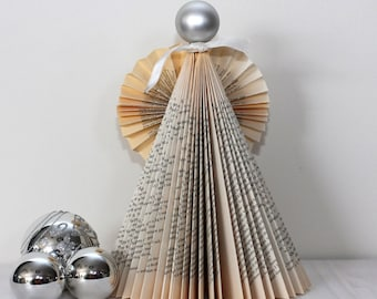 Christmas Paper Ornament/Paper gift/Book Sculpture/Paper snowman/Paper Angel/Paper Christmas Tree/Book Art/Paper sculpture/Folded book art