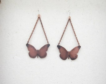 Copper Butterfly Earrings, Copper Earrings, Butterfly Earrings, Handmade Earrings