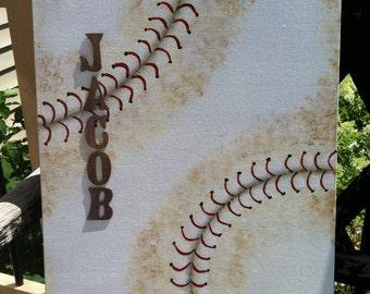 Personalized baseball gifts, Baseball canvas art, Boy room baseball decor, Baseball Coach gift, Baseball dad, Baseball nursery decor