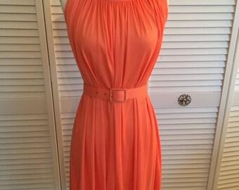 1960s orange trapeze dress with belt