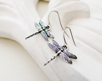 Silver Dragonfly Earrings | Silver Insect Earrings | Boho Earrings