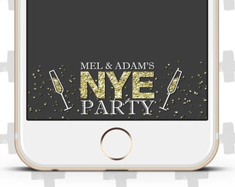 Custom Snapchat Filter for New Year's Eve. Snapchat Filter for NYE Party! Confetti & Champagne Flutes!