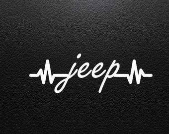 Jeep Decal , Heartbeat Jeep Vinyl Decal , Jeep Sticker , Vinyl Decal Sticker