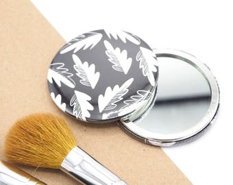 Monochrome Pocket Mirror //  Compact Mirror // Small Mirror // Cute Mirror for Bag // Gift for Her // Patterned Mirror // Leaf Print