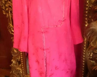 Vintage 1960's Dynasty 2 Piece Asian Pink Silk Lounging Pajama set