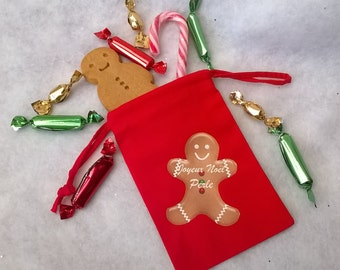 Customizable red fabric Noël Ginger bread bag