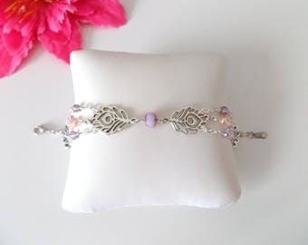 Multi-rang bracelet silver metal feathers, pearls faceted Crystal pink and purple with beads pale pink rebirths
