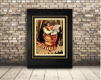 High Resolution Digital Download of a Vintage Circus Poster of Opera Singer. Card for Any Occassion Perfect for Musician or Actor. Collage.