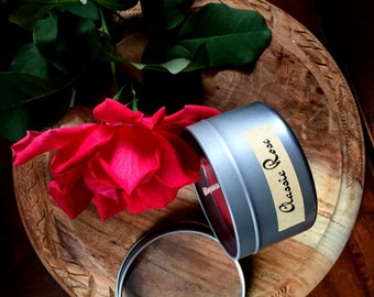 Classic Rose Scented Premium Natural Soy Wax Container Candle In Medium Clear Lid Metal Travel Tin - 6oz - 100g