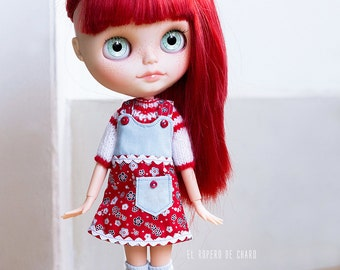 Pinafore Dress and Sweater for Blythe doll - Pichi and sweater for Blythe doll