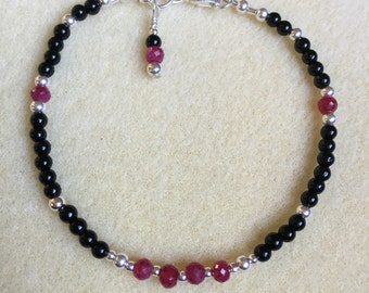 Ruby, Onyx and Sterling Silver Bracelet