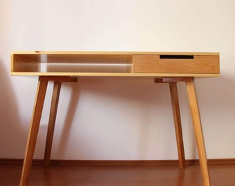 Büro|Wooden Desk|Laptop Desk|Home Desk|Office Writing Desk|Scandinavian Design|Drawer|Beech Wood|Spruce Wood|Table|Computer Desk