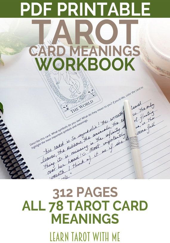 Printable Tarot Deck A Tarot Card Deck And Printable: Tarot Card Meanings Tarot Workbook Learn Tarot Reading With