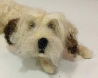 Needle felted dog, wool dog, dog sculpture, dog figurine, dog ornament, dog doll, Waldorf dog, Waldorf animal, felted animal, Waldorf doll
