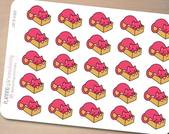 Cat in a Box Planner Stickers perferct for Erin Condren, Kikki K, Filofax and all other Planners