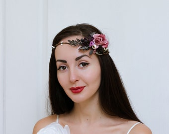 Grey purple flower crown Flower headband Floral crown Wedding flower crown Winter wedding Flower headpiece Bridal floral crown Flower halo