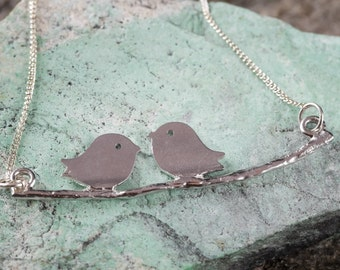 19in STERLING SILVER Love Birds Necklace - Bird Pendant Handmade Jewelry Made in the USA - Silver Bird Necklace J453