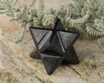 One BLACK TOURMALINE Crystal Merkaba - Crystal Merkaba Star, Black Tourmaline Jewelry, Merkaba Pendant, Black Tourmaline Pendant E0233