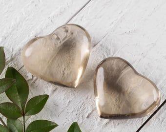 One Small SMOKEY QUARTZ Crystal Heart Shaped Rock - Clear Quartz Heart, Healing Crystal, Polished Stone, Heart Shaped Stones E0235