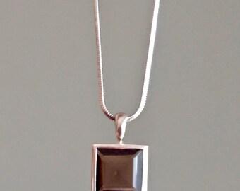 Square Smoky Quartz Pendant Necklace, Smoky Quartz Pendant, Smoky Quartz Necklace, Silver Necklace, Vintage Sterling Silver, Girlfriend Gift