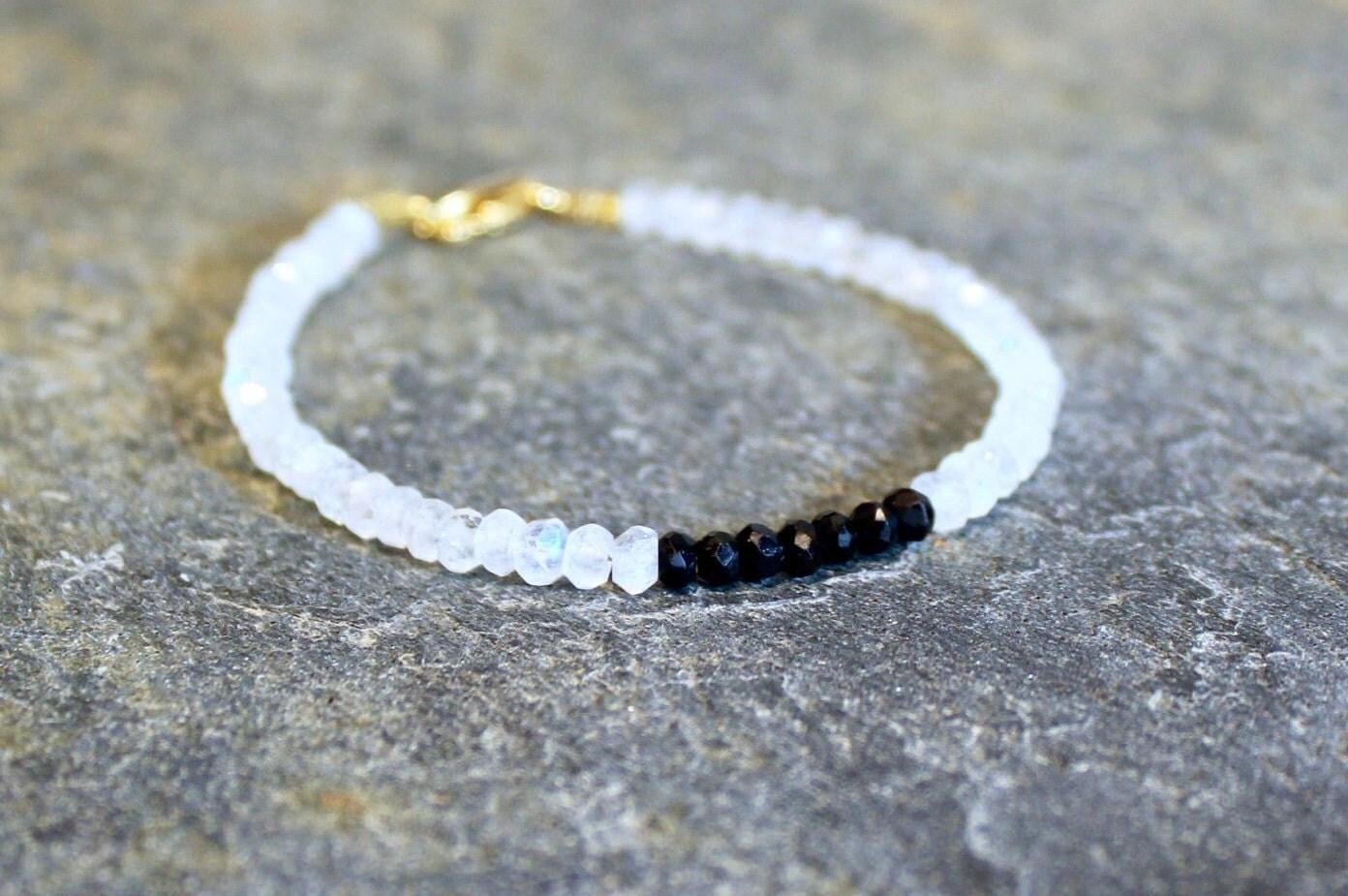 Spiritual Moonstone Bracelet with Meaning Black & White Bead