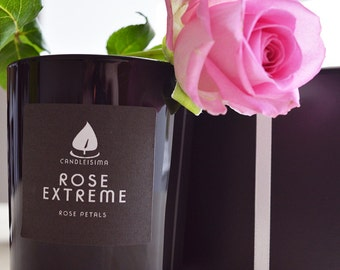 ROSE EXTREME Soy Wax Candle with Cotton Wick; Rose scent, British Rose, 200g