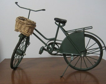 "Beach Cruiser Bicycle Replica, Green, Wicker Basket, 19"" x 10"", Rubber Tires, Kick Stand, Vintage"