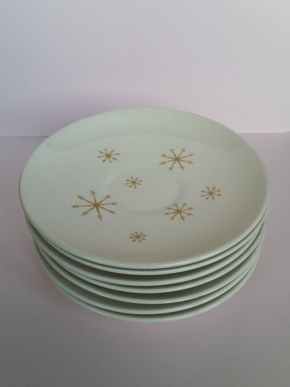 1960's Retro Atomic Style Small Plates | Royal China Star Glow Saucers Set | Mid Century Gold & White | Ideal Size For Bread / Dessert Plate