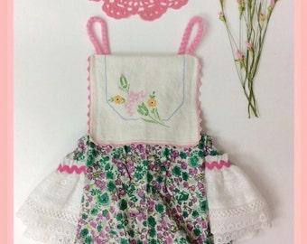 Boho Baby Girl, Romper, Bloomers, OOAK, Vintage FlourSack, Vintage Embroidered Doily