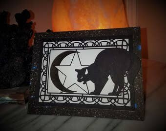 Celestial Black Cat Outer Space and Stars Greeting Card