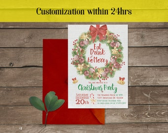 Printable Christmas party invitation template, Xmas Invitation, Printable Christmas Invite, Christmas Party Invitation Christmas Invite