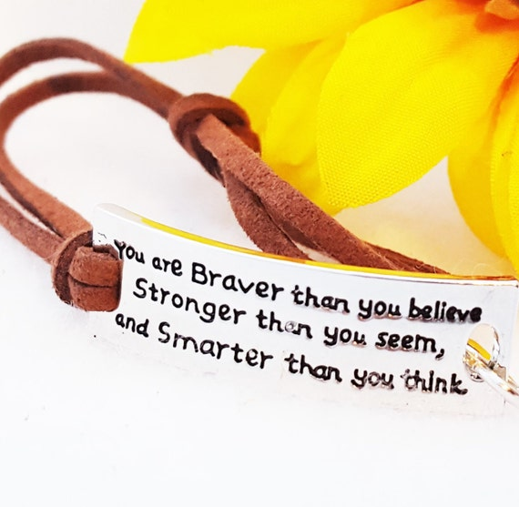 CrossFit Jewelry, You Are Strong Brave Smart Bracelet, Leather Wrist Wrap, Inspirational Quotes, Word Charms, Brown Leather Wrap Bracelet