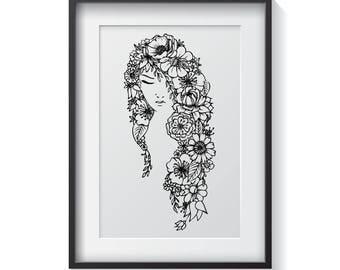 Floral Portrait Print / Botanical Illustration / Black & White / Home Decor / Art Print / Adult Colouring / Digital Download