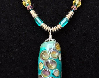 FLAMING FOOLS - Turquoise, Pink and Yellow LAMPWORK Glass Bead Necklace (Handcrafted)